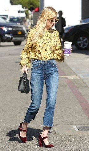 Emma Roberts street style…yellow floral shirt, frayed hem jeans and burgundy velvet Mary Janes - flipped