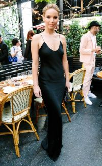 Jennifer Lawrence black slip dress