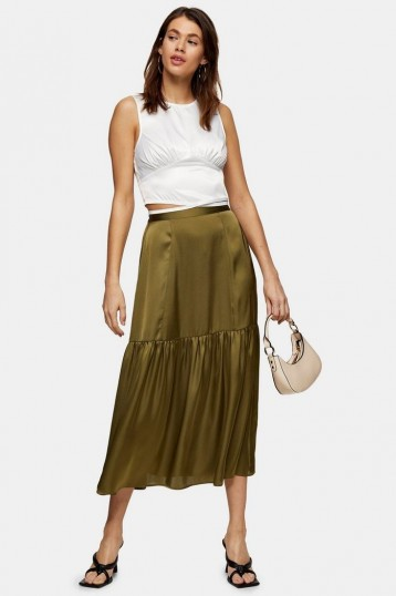 Topshop Khaki Tiered Satin Skirt | dark green skirts