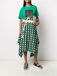 PLAN C Green checked A-line skirt