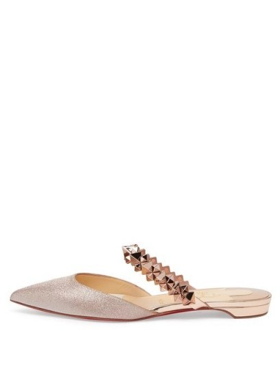 CHRISTIAN LOUBOUTIN Planet Choc spiked-strap glitter backless loafers in rose-gold | luxe flat mules - flipped