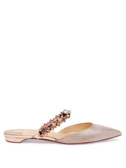 CHRISTIAN LOUBOUTIN Planet Choc spiked-strap glitter backless loafers in rose-gold | luxe flat mules