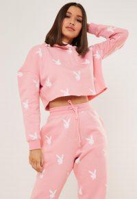 playboy x missguided pink bunny repeat print cropped hoodie / logo printed hoodies