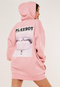 playboy x missguided pink graphic print hoodie sweater dress