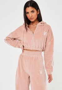 playboy x missguided pink velour hooded zip through jacket / cropped hoodies