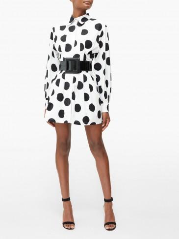 CAROLINA HERRERA Pleated polka-dot twill mini dress in white / monochrome dresses