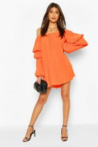 Boohoo Plisse Off The Shoulder Puff Sleeve Swing Dress Orange – bardot dresses