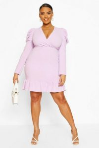 Boohoo Plus Crepe Volume Sleeve Ruffle Hem Mini Dress Lilac