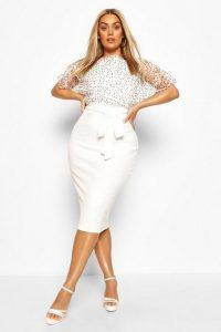 Boohoo Plus Heart Organza Blouson Midi Dress Ivory – sheer sleeve dresses