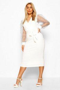 Boohoo Plus Heart Organza Sleeve Midi Dress Ivory – curvy size dresses
