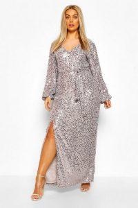 Boohoo Plus Sequin Plunge Maxi Dress Silver Grey – curvy size evening wear