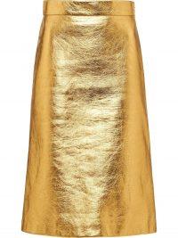PRADA laminated A-line skirt in gold