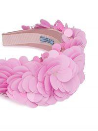 PRADA pink silk satin macro sequin embellished hairband