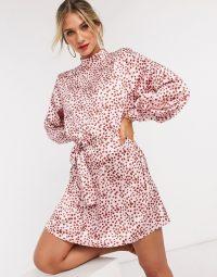 Pretty Lavish belted mini dress in pink smudge spot print