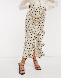 Pretty Lavish midi skirt with ruffle detail in white spot print