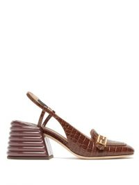 FENDI Promenade slingback brown crocodile-effect leather pumps / chunky heeled slingbacks
