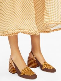 FENDI Promenade slingback gingham and suede pumps in brown
