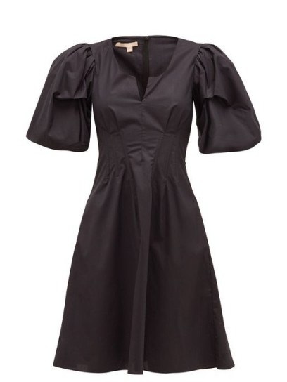 BROCK COLLECTION Puff-sleeve cotton-blend dress in black - flipped