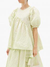 SIMONE ROCHA Puff-sleeve floral-cloqué top in green