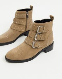 Pull&Bear suede buckle boots in taupe