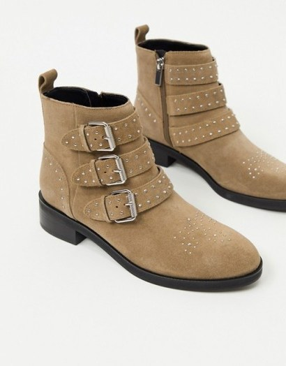 Pull&Bear suede buckle boots in taupe - flipped