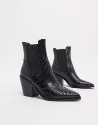 RAID Alyson western boots in black snake pu