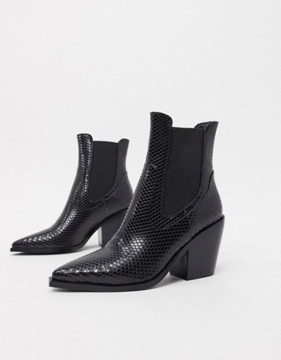 RAID Alyson western boots in black snake pu - flipped
