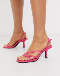 RAID Anina square toe strappy sandals in bright pink