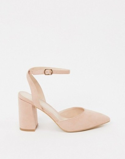 RAID Exclusive Neima block heeled shoes in blush - flipped
