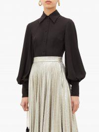 EMILIA WICKSTEAD Raven bishop-sleeve slim-fit crepe shirt in black