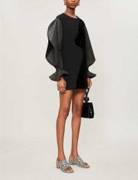 REJINA PYO Cynthia puffed-sleeve velvet mini dress in black   LBD