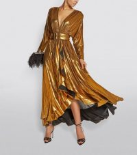 Retrofete Wayne Metallic Wrap Dress in Gold