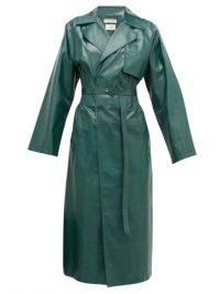 BOTTEGA VENETA Ribbed-waist double-breasted green-leather trench coat