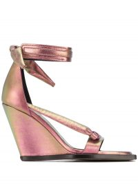 RICK OWENS Single Bow 100mm holographic effect wedge sandals