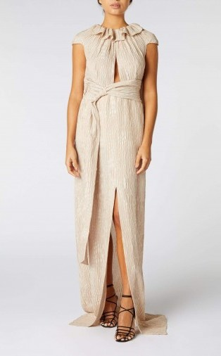 ROLAND MOURET RILA GOWN in MINK ~ luxe event gowns - flipped