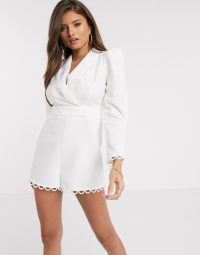 River Island broderie embroidered playsuit in cream