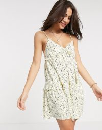 River Island ditsy floral slip dress in yellow print   tiered summer cami dresses