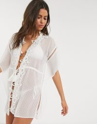 River Island floral lace applique beach kaftan in white – beachwear – cover-ups