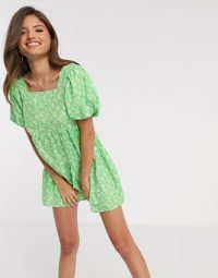 River Island floral puff sleeve dress in green print