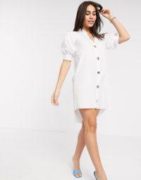 River Island poplin shirt dress in white | puff sleeved dresses