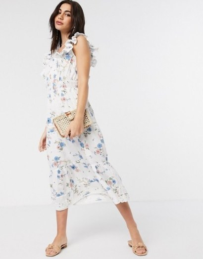 River Island printed tiered dress in white / ruffle edged details - flipped