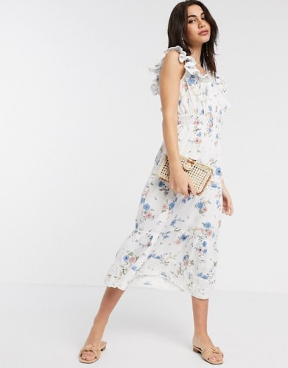 River Island printed tiered dress in white / ruffle edged details