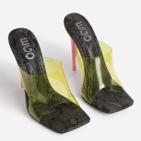 EGO River Yellow Clear Perspex Square Peep Toe Heel Mule In Black Snake Print Faux Leather – pink heels