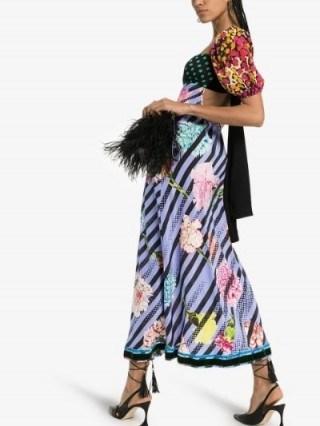 Rixo X Christian Lacroix Anastasia Contrast Print Silk Maxi Dress / open tie back dresses / mixed prints - flipped