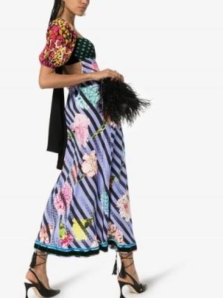 Rixo X Christian Lacroix Anastasia Contrast Print Silk Maxi Dress / open tie back dresses / mixed prints