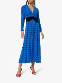Rixo X Christian Lacroix Elodie Polka Dot Silk Midi Dress in Blue