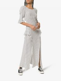 Rixo X Christian Lacroix Quinn Polka Dot Silk Dress in Black and white