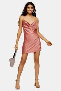 Topshop Rose Pink Ruched Satin Slip Dress | side gathered cami dresses