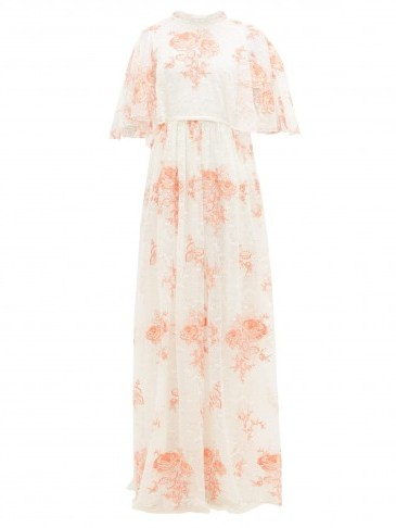 GIAMBATTISTA VALLI Rose-embroidered cape-sleeve lace gown in peachy rose – matches fashion - flipped