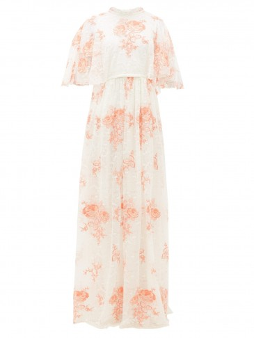 GIAMBATTISTA VALLI Rose-embroidered cape-sleeve lace gown in peachy rose – matches fashion